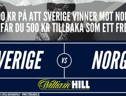 Sverige-Norge: Spela att Sverige vinner, vid förlust får du pengarna tillbaka som ett freebet