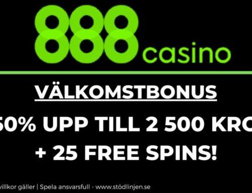 Välkomstbonus 888casino: 250% upp till 2 500 kronor + 25 free spins